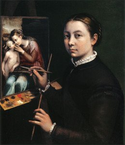 Sofonisba Anguissola, Self-portrait at the easel, 1556